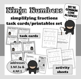 Ninja Numbers - simplifying fractions task cards + printables set