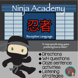 Ninja Receptive Language: Following directions, Wh questions Speech therapy