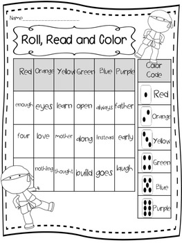 Ninja Sight Words-Roll, Read and Color/Flashcards