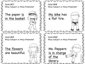Subject and Predicate SCOOT - Ninja Themed Grades 2-4