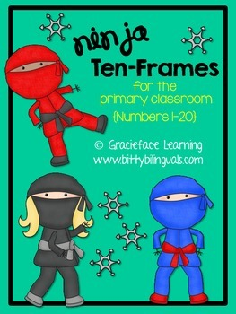 Ninja Ten-Frame Cards - Math Center for Primary Students