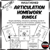 Ninja Themed Articulation Homework Bundle