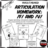 Ninja Themed Articulation Homework for F and V