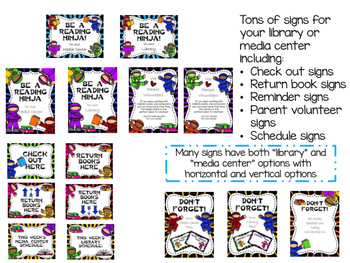 Ninja Themed Library Media Center Pack {with EDITABLE passes and signs}