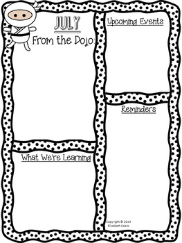 Ninja Themed Monthly Newsletters {Editable} Black & White AND Color Versions