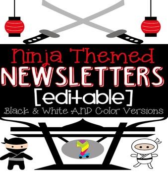 Ninja Themed Monthly Newsletters {Editable} Black & White