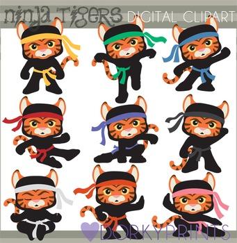 Ninja Tigers Clip Art - Ninjas with No Weapons