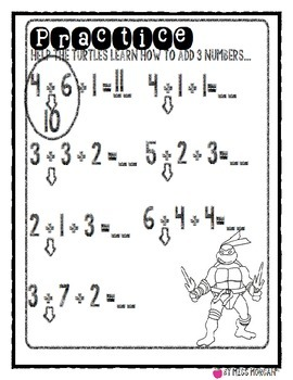 Ninja Turtle Adding 3 Numbers Packet