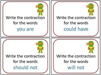 Ninja Turtle Contraction Task Cards