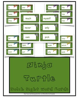 Ninja Turtle Dolch Sight Word Cards