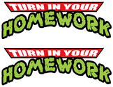 Ninja Turtle Homewrok tray labels