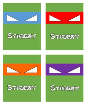 Ninja Turtle Student Tags