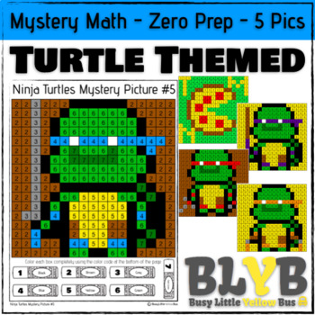 Ninja Turtle Themed Mystery Math (Number Recognition) NO PREP Printables