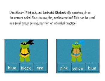 Ninja Turtles Clip It Color Words!