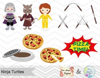 Ninja Turtles Digital Clip Art, Digital Ninja Turtle Clipart, 00196