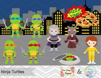 Ninja Turtles Digital Clip Art, Digital Ninja Turtle Clipa