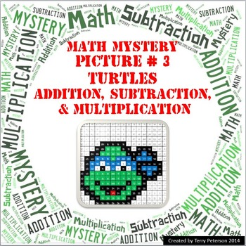 Ninja Turtles Math Mystery Picture #3  ~ Addition, Subtraction, & Multiplication