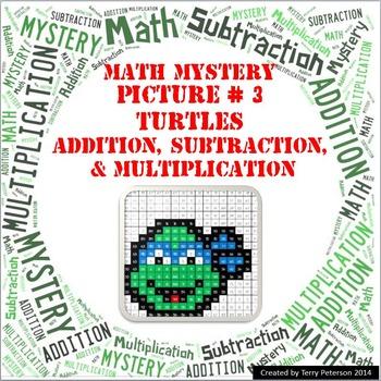 Ninja Turtles Math Mystery Picture #3  ~ Addition, Subtrac