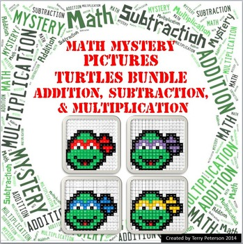 Ninja Turtles Math Mystery Pictures BUNDLE Addition Subtraction & Multiplication
