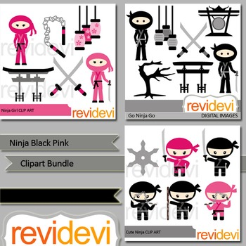 Ninja black pink clipart bundle (3 packs)