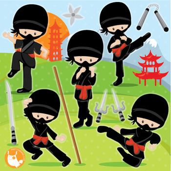 Ninja clipart commercial use, vector graphics, digital  - CL1020
