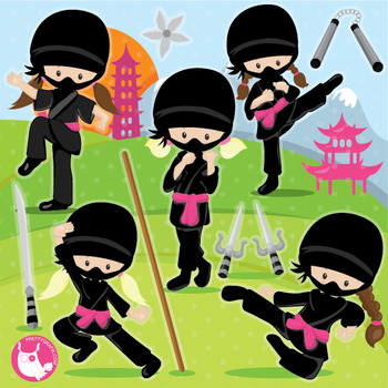 Ninja clipart commercial use, vector graphics, digital  - CL1022