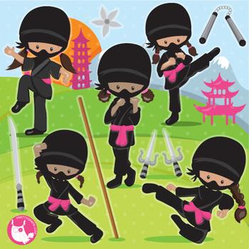 Ninja clipart commercial use, vector graphics, digital  - CL1092