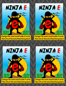 Ninja e /CVCe pattern / split digraphs Poster