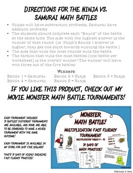Ninja vs Samurai Math Battles - Add. and Sub. of Mixed Numbers with Regrouping