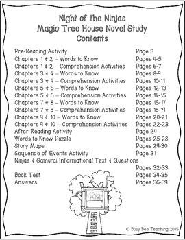 Night of the Ninjas Magic Tree House Book # 5 Novel Study