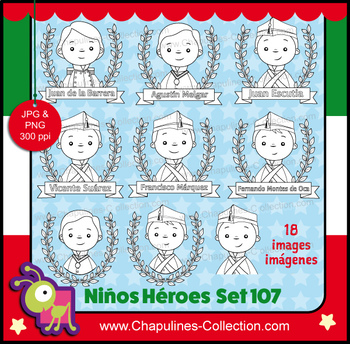 Niños Héroes clipart en blanco y negro, Boy heroes Clipart, Set 107