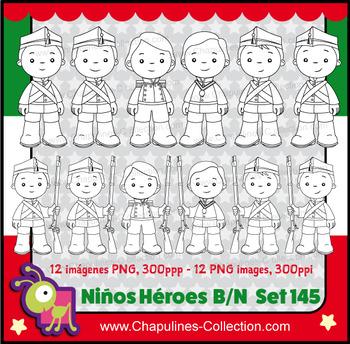 Niños Héroes clipart, en blanco y negro, de cuerpo completo, Boy heroes, Set 145