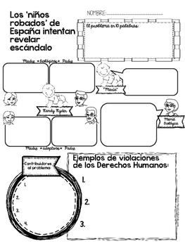 Niños Robados de España (adapted news article) with Graphic Organizer