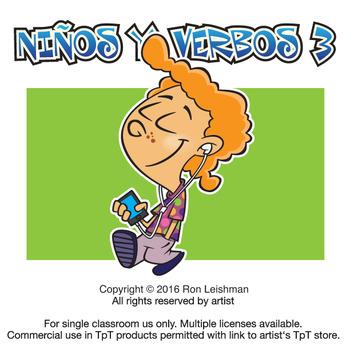Ninos Y Verbos Cartoon Clipart Volume 3