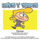 Ninos y Verbos Cartoon Clipart