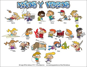 Ninos y Verbos Cartoon Clipart