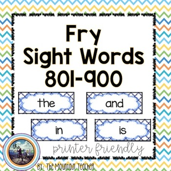 Ninth 100 Fry Word Rings/Word Wall Words/Flash Cards (801-900)