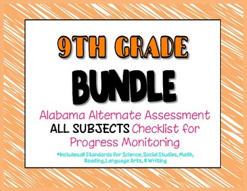 Ninth Grade  AAA ALL SUBJECTS BUNDLE Checklist Progress Monitoring