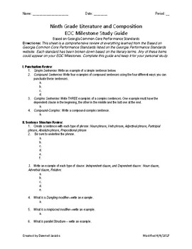 Ninth Grade Literature and Compostion EOC (End of Course) Study Guide