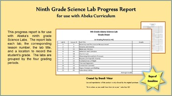 Ninth Grade Science Lab Progress Report for use with Abeka Curriculum