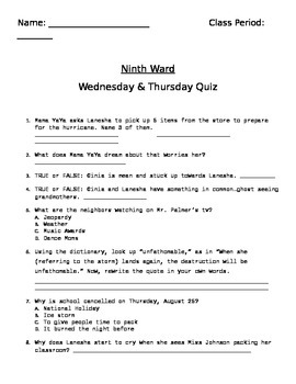 Ninth Ward Ch. 3-4 (Wednesday-Thursday) Quiz