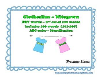 "Nitegowns on Clothesline ""FRY' Words - 2nd set of 100 Words"