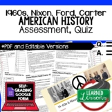 Nixon, Ford, Carter Test and Quiz, American History Assessment