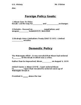 Nixon PowerPoint Worksheet