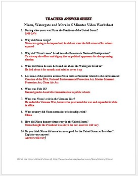 Nixon, Watergate and More in 5 Minutes Video Worksheet