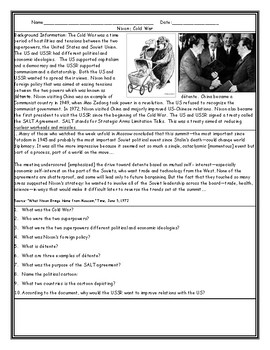 Nixon and Detente Worksheet with Answer Key