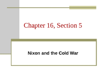 Nixon and the Cold War PPT