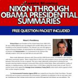 Nixon through Obama Presidency Summaries United States His