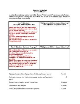 Nixon vs Kerry: Constructed Response Prompt, Format, + Rubric (Vietnam War)