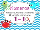 """""""Números"""" Spanish Numbers 1 - 10 worksheets & flashcards / Distance Learning"""